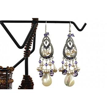 Cercei din perle, cristale Swarovski si sidef alb