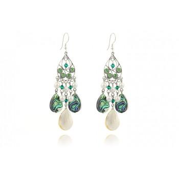 Cercei candelabru din sidef, perle de Mallorca si cristale Swarovski