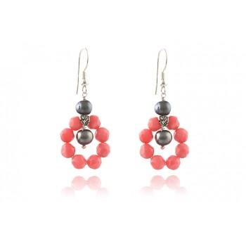 Cercei coral roz si perle de cultura gri