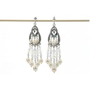 Cercei cristale Swarovski AB si perle de cultura