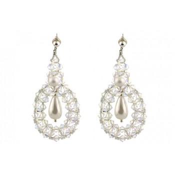 Cercei supradimensionati din cristale Swarovski Crystal AB si perle Mallorca