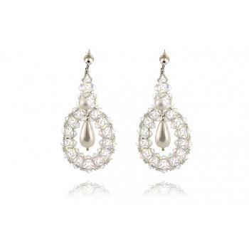 Cercei supradimensionati din cristale Swarovski si perle