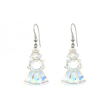 Cercei cristale Swarovski keystone Aurora Borealis si argint