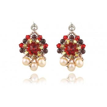 Cercei cristale Swarovski, perle de cultura si granat