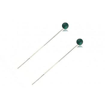 Cercei cristale Swarovski Emerald si lant din argint