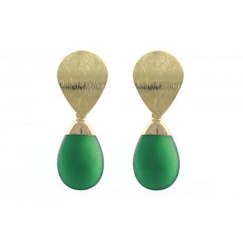 Cercei din agat verde si metal placat cu aur 18K
