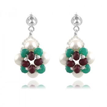 Cercei din argint, perle naturale si jad