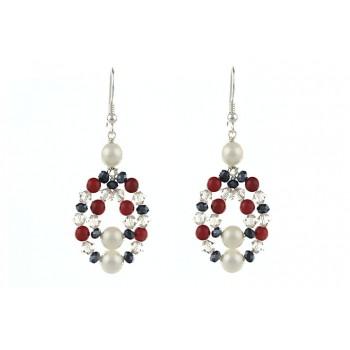 Cercei din cristale Swarovski, jad rosu si perle de Mallorca