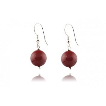 Cercei perle de Mallorca rosii