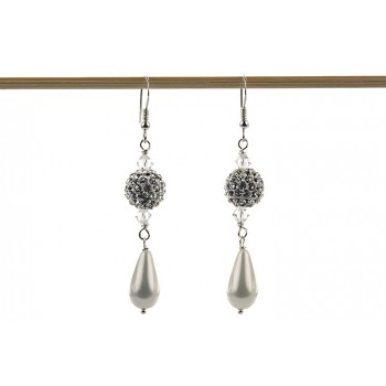 Cercei din perle de Mallorca si cristale Swarovski