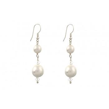 Cercei lungi din perle de Mallorca si cristale Swarovski Clear