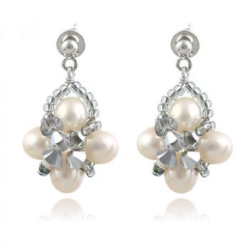 Cercei din perle naturale si cristale Swarovski
