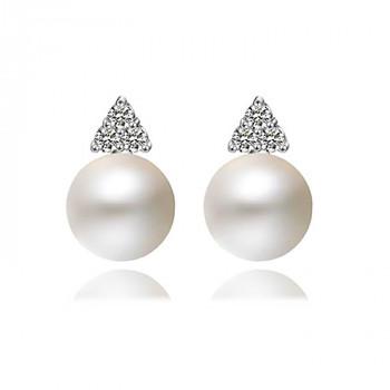 Cercei din perle naturale, zirconia si argint