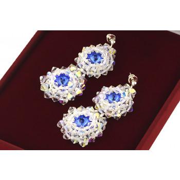Cercei exclusivisti din cristale Swarovski Sapphire