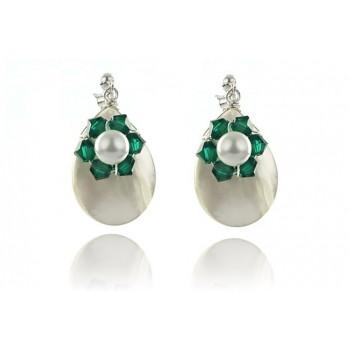 Cercei flori din cristale Swarovski, perle si sidef