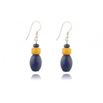 Cercei lapis lazuli si jad galben