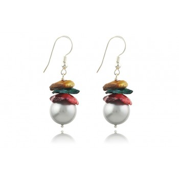 Cercei perle de cultura si perle Biwa multicolore