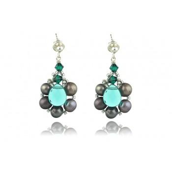 Cercei perle de cultura, cuart verde si cristale Swarovski