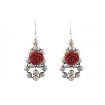 Cercei impunatori din perle de cultura si trandafiri coral