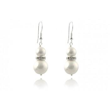 Cercei perle de Mallorca albe si rhinestone