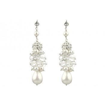 Cercei perle de Mallorca, cuart si rhinestone