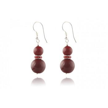 Cercei perle de Mallorca rosii si rhinestone