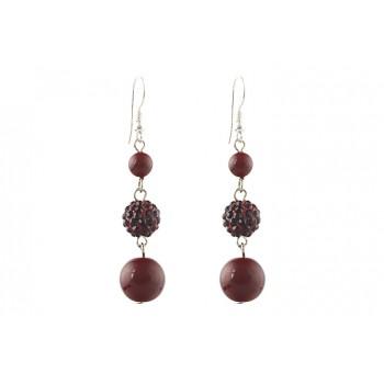 Cercei perle de Mallorca rosii si rhinestone rotund