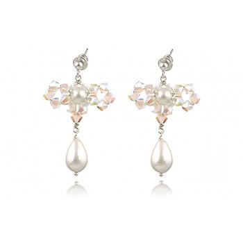 Cercei fundita din perle Mallorca si cristale Swarovski
