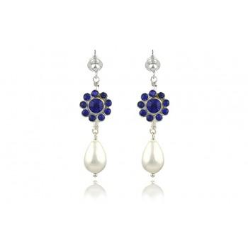 Cercei perle de Mallorca si rhinestone albastru