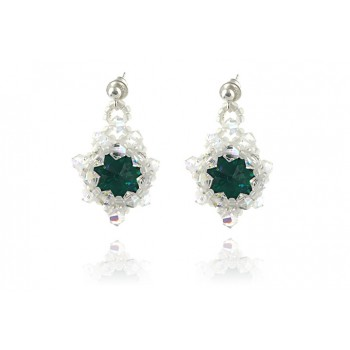 Cercei rivoli din Swarovski Emerald si Crystal AB