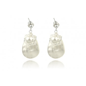 Cercei sidef, perle de Mallorca si cristale Swarovski