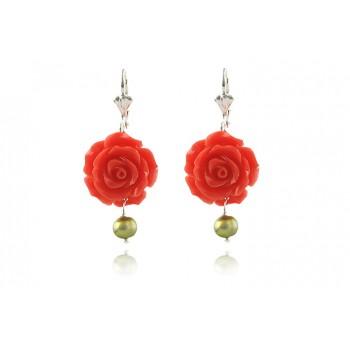 Cercei trandafiri portocalii din coral si perle