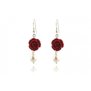 Cercei trandafiri coral si perle albe