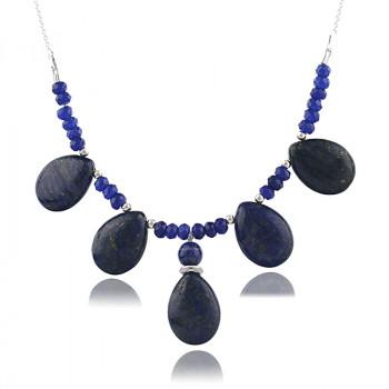 Colier din argint, lapis lazuli si jad