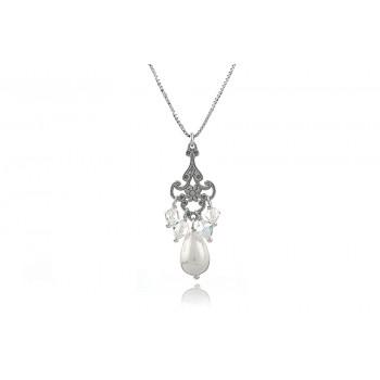 Colier din argint, perla Mallorca si cristale Swarovski