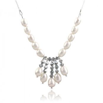 Colier din argint, perle naturale si cristale Swarovski