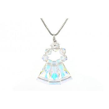 Colier din argint si cristale Swarovski keystone Aurora Borealis