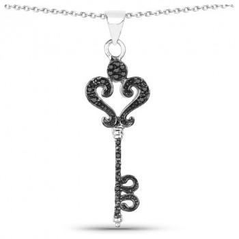 Colier cheie din argint si diamante negre