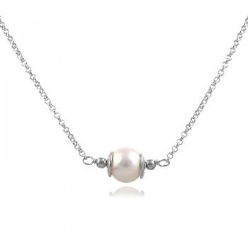 Colier din argint si perla naturala 8-9 mm, calitate AA