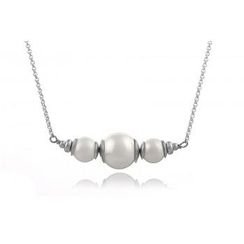 Colier din argint si perle de Mallorca albe