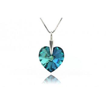 Colier din argint si  Swarovski inima Bermuda Blue
