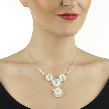 Colier exclusivist din cristale Swarovski Aurora si argint