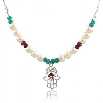 Colier Hamsa din argint, perle naturale si jad