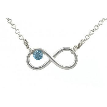 Colier Infinity din argint si Swarovski Aquamarine
