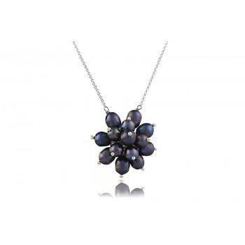 Colier lung din argint si floare din perle naturale