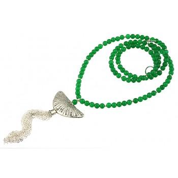Colier lung din jad verde