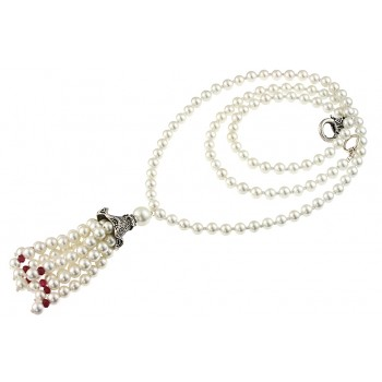 Colier lung din perle de Mallorca si jad rubiniu