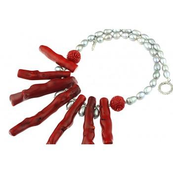 Colier mediu din coral rosu masiv si perle de cultura