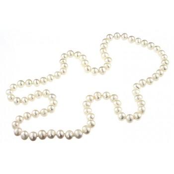 Colier mediu perle de cultura albe 8 - 9 mm AA