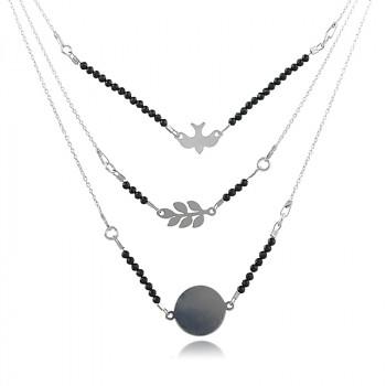 Colier 'Lucky Charm' din argint si spinel negru